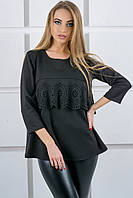 """Блуза с воланом """"Альмина""""  р. 44-52 черный"""
