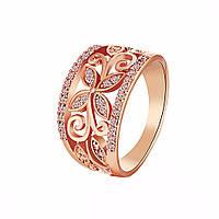 Кольцо из меди и золота с камнями(золотой цветок)