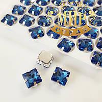 Cтразы в цапах Квадрат, размер 8х8 мм, цвет Sapphire