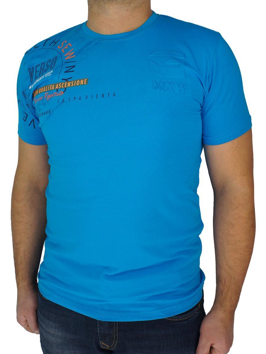 Стильна чоловіча футболка Maxway 4318 Н синього кольору