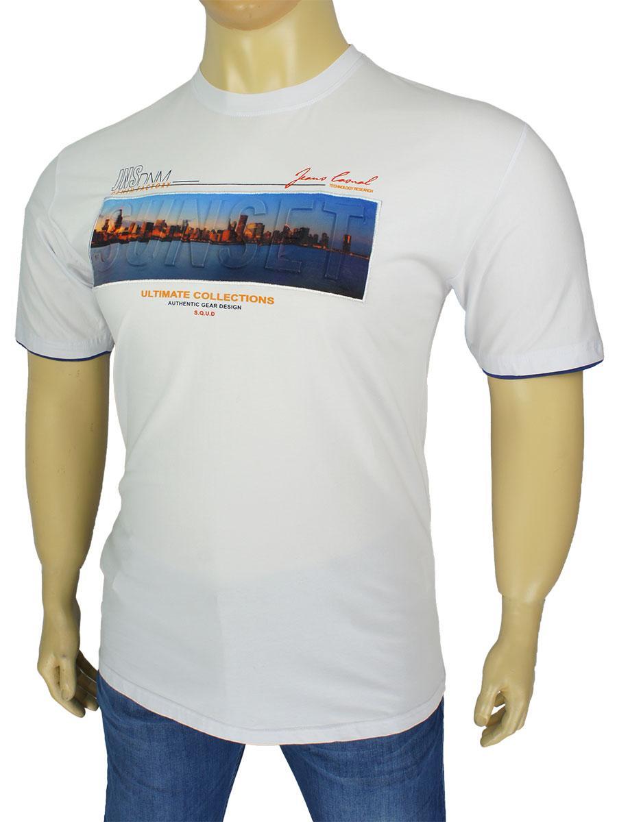 Біла чоловіча футболка Martini DRY 4967 з яскравим принтом у великому розмірі