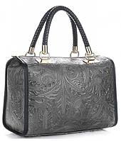 Итальянская женская сумка GENUINE LEATHER из натуральной кожи, серого цвета