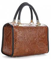 Итальянская женская сумка GENUINE LEATHER из натуральной кожи, коричневого цвета