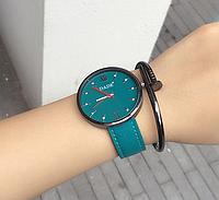 Стильные женские наручные часы с зеленым ремешком код 339