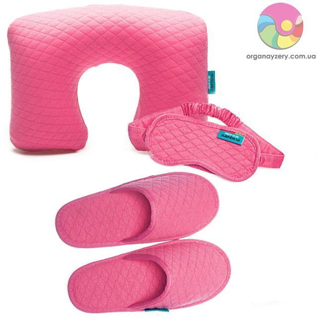 Дорожный набор (надувная подушка, маска, тапочки) (розовый)
