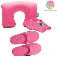 Дорожный набор (надувная подушка, маска, тапочки) (розовый), фото 1