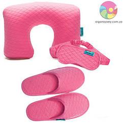 Дорожній набір (надувна подушка, маска, тапочки) (рожевий)