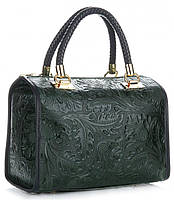 Итальянская женская сумка GENUINE LEATHER из натуральной кожи, зеленогоо цвета