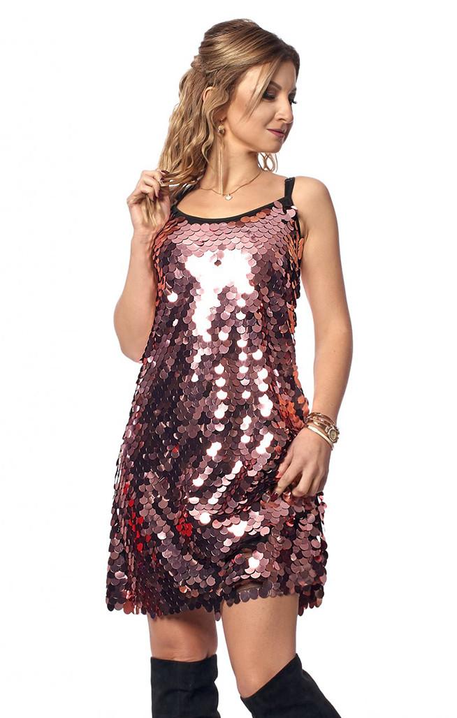 91fd52f0a53ef5f Вечернее платье с крупными пайетками розового цвета. Модель 1040. Размеры 42 -46 -