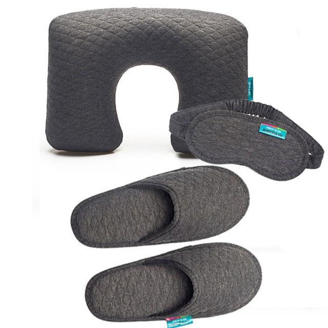 Серый дорожный набор (надувная подушка, маска, тапочки)