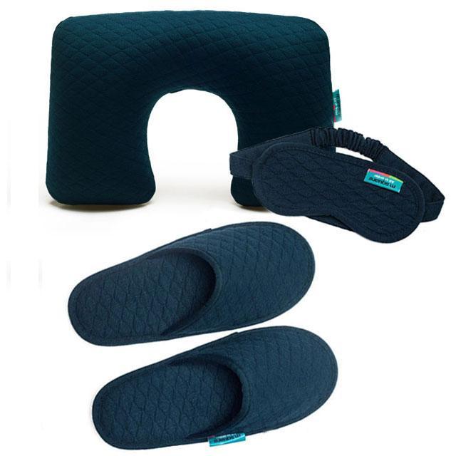 Синий лорожный набор (надувная подушка, маска, тапочки)