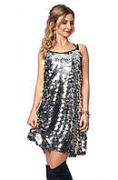 Вечернее платье с крупными пайетками серебристого цвета. Модель 1040. Размеры 42-48.