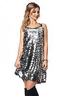 487b6f4d07c Вечернее платье с крупными пайетками серебристого цвета. Модель 1040. Размеры  42