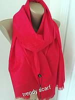 Шарф Louis Vuitton бренд Луи Виттон красный малиновый monogram реплика шерсть шелк 180*60 см