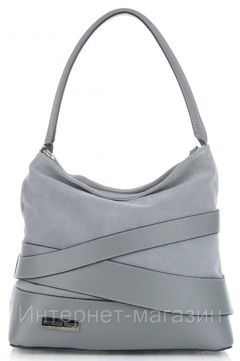 0cb3ab50c121 Итальянская женская сумка VITTORIA GOTTI из натуральной кожи, светло -  серого цвета - Интернет-