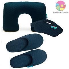 Дорожній набір (надувна подушка, маска, тапочки) (темно-синій)
