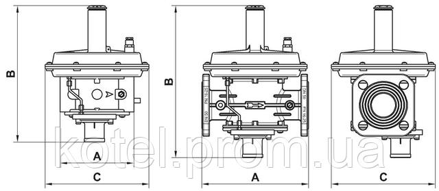 Размеры регуляторов давления газа Madas RG 2 MBZ DN32-50