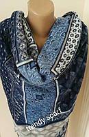 Платок плед женский Клетка. Голубой, светло серый белый синий. Шерсть 150\150