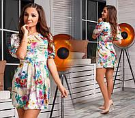 Летнее платье из сатина в цветочный принт