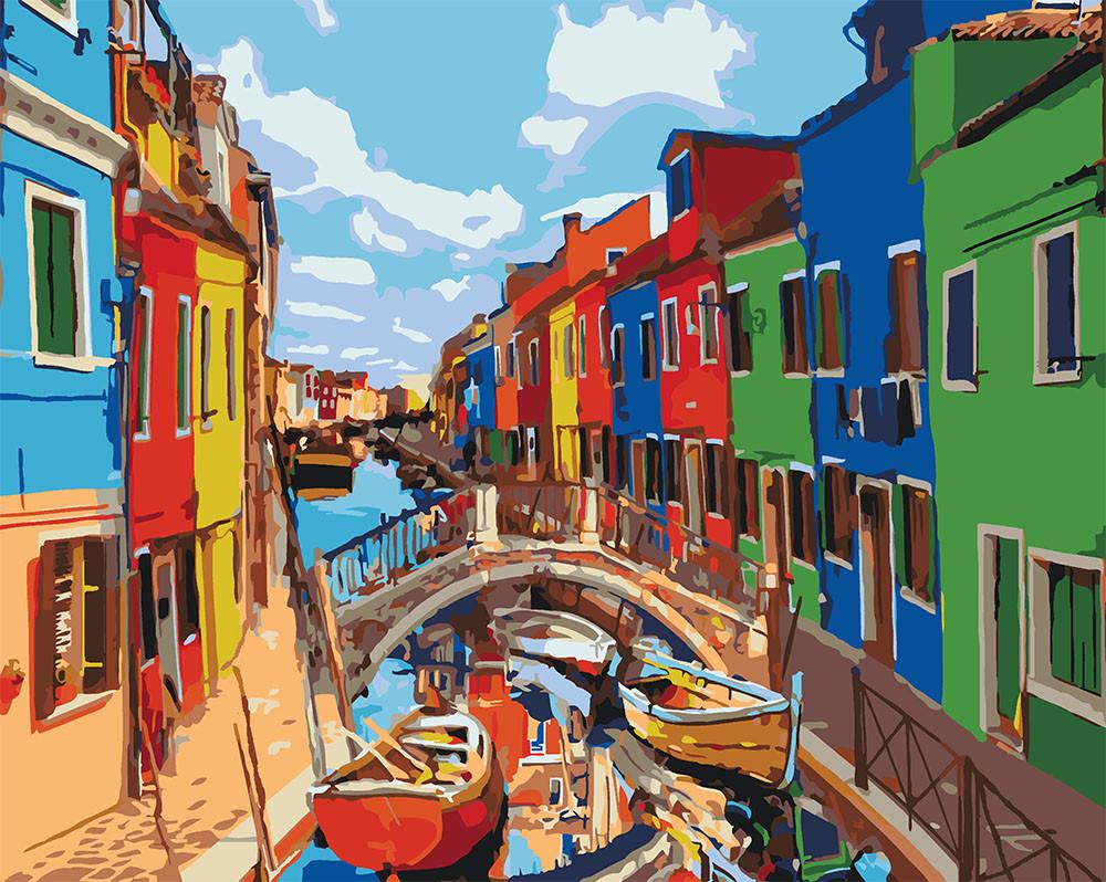 Рисование по цифрам Яркие краски Венеции (KH3502) Идейка 40 х 50 см