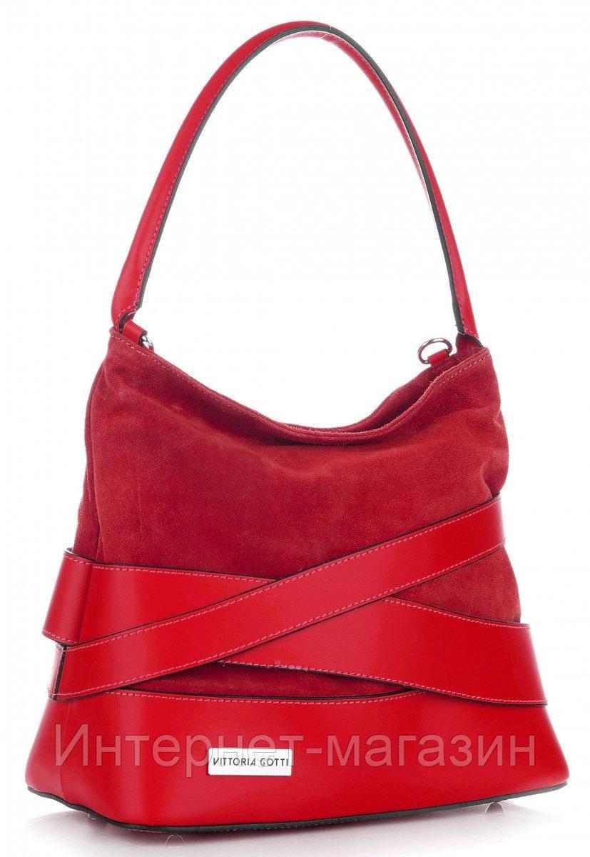 087022eb7a87 Итальянская женская сумка VITTORIA GOTTI из натуральной кожи, красного  цвета - Интернет-магазин