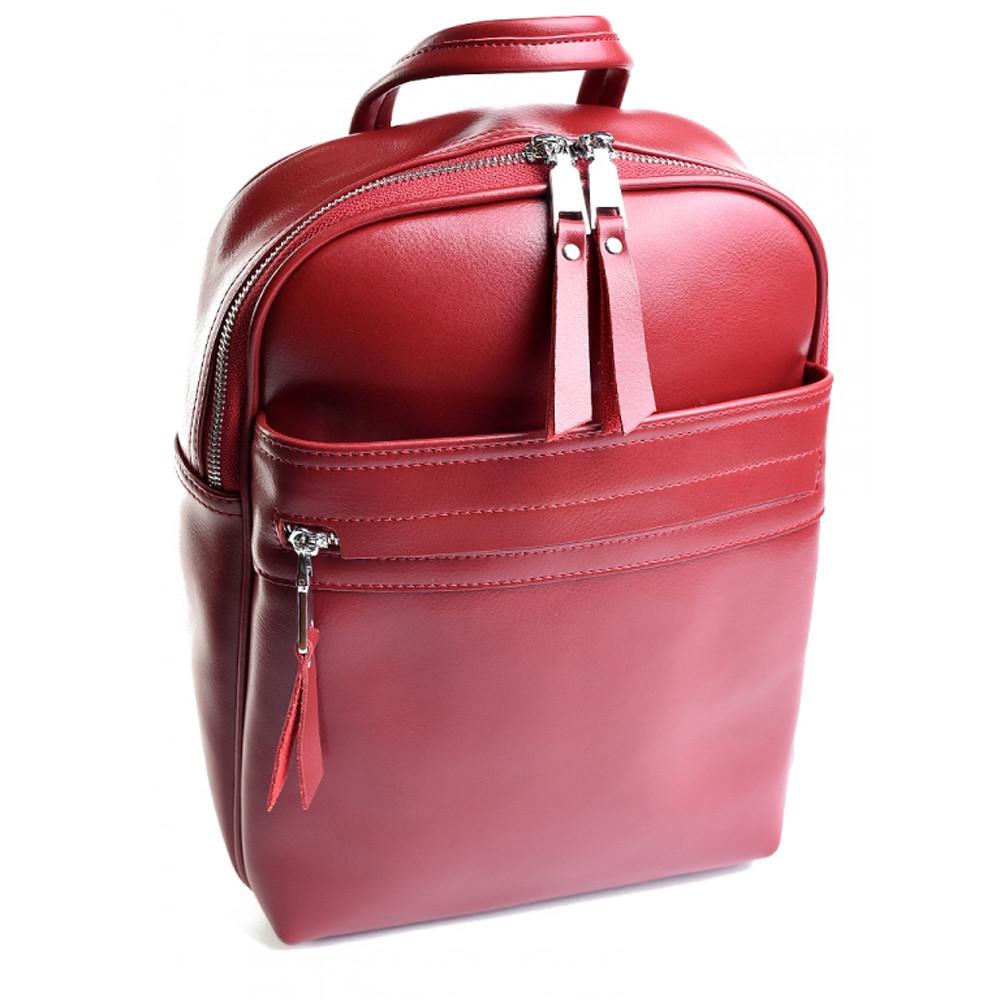 Рюкзак женский кожаный Victoria, темно- красный
