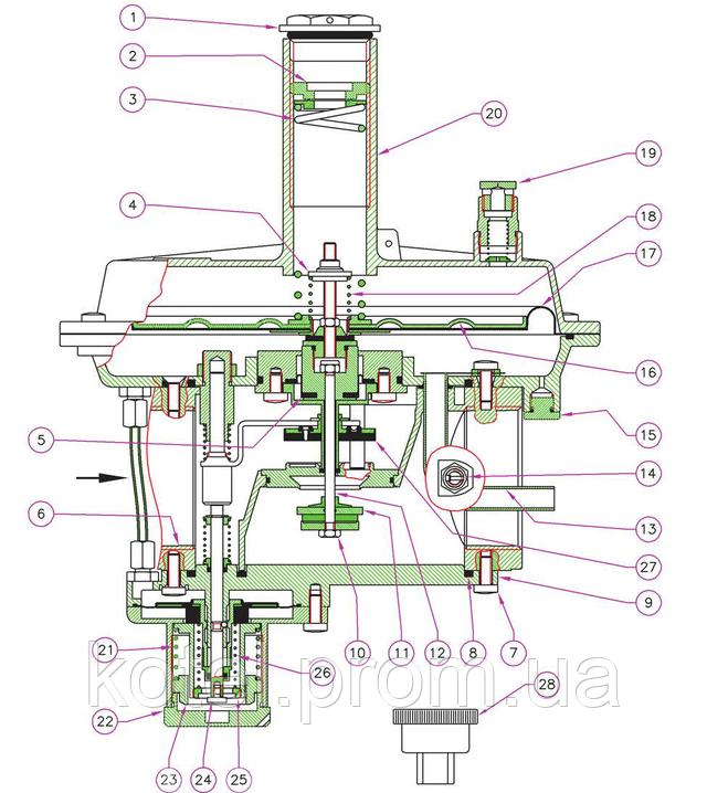Схема конструкции регуляторов давления газа Madas RG 2MBZ DN32-50