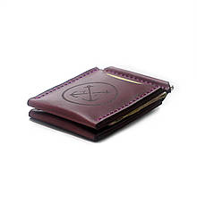 """Зажим для денег кожаный в морском стиле с отделениями для карт """"OldSalt"""". Цвет бордовый"""