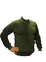 """Флисовая подстежка-куртка """"Milt-02"""" с трикотажным воротом(цвет олива), фото 1"""