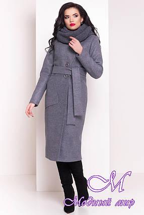 Длинное женское зимнее пальто с хомутом (р. S, М, L) арт. Габриэлла 4151 - 20312, фото 2