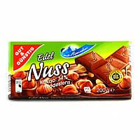 Шоколад Edel Nuss 34% какао с целым лесным орехом 200г