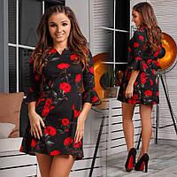 Очаровательное короткое платье А-силуэт в цветочный принт