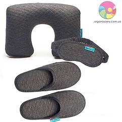 Дорожній набір (надувна подушка, маска, тапочки) (сірий)
