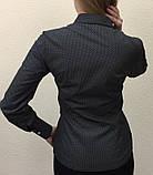 Женская блуза черного цвета с белым принтом, фото 2