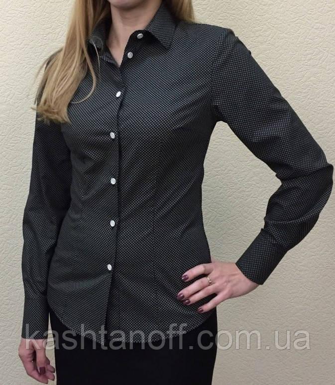 Жіноча блуза чорного кольору з білим принтом