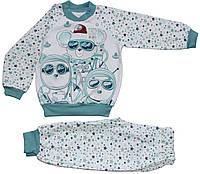 Пижама теплая для мальчиков, белая в голубые звезды, животные-космонавты, рост 86 см,  98 см, ТМ Ля-ля