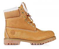 Женские ботинки Timberland 6 inch Yellow Winter Fur (реплика)
