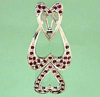 Срібний підвісок з синтетичним рубіном та цирконом