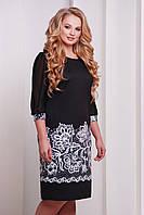 Женское нарядное платье батал до колена с гипюровым рукавом с ярким цветочным узором