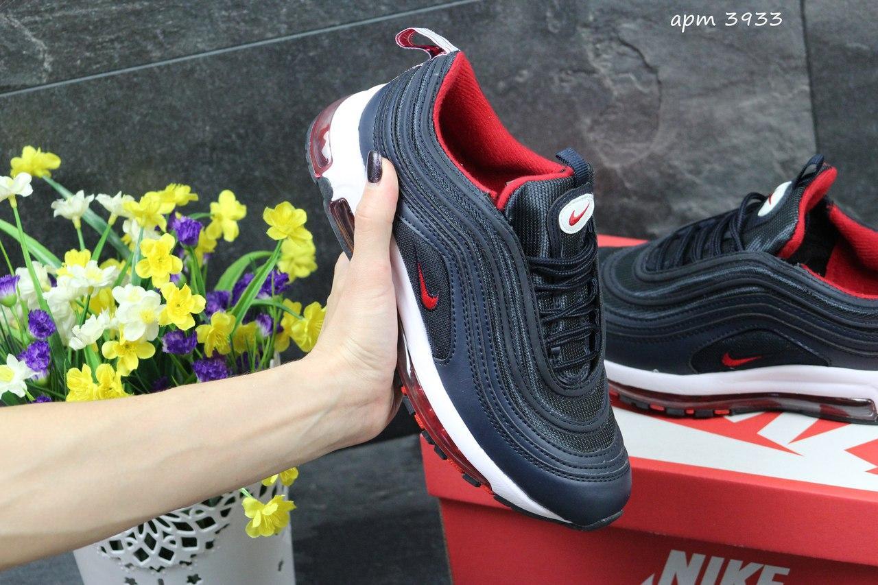Я в шоке!™   Женские кроссовки Nike 97 темно синие с красным 3933 ... 47005e51e94