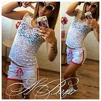 Полупрозрачный гипюровый костюм Avery с актуальной подкладкой на шортах (3 цвета) (131)36
