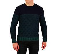 Мужской вязаный теплый свитер SUNRISE комбинированного зеленого и синего цвета