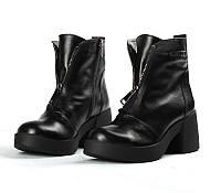 Модные зимние ботинки Zara, черная гладкая кожа