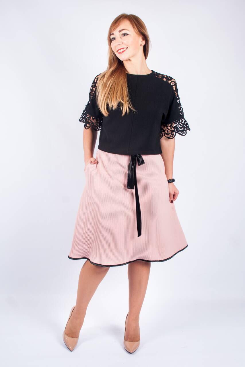86d9b13a6d9 Женская юбка плиссе с велюровым поясом