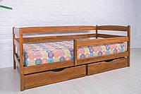 """Кровать односпальная """"Марио с бортиком и ящиками"""" Олимп (80*200 деревянная детская кроватка)"""