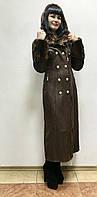 Зимняя длинная дубленка женская