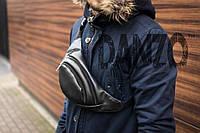 Поясная сумка бананка mod.Easy кожаная черный, фото 1