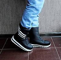 Женские зимние дутики черные в стиле Adidas  №45