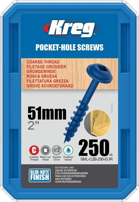Саморезы Blue-Kote с шляпкой MAXI-LOC, крупный шаг, длина 50,8мм, 250шт