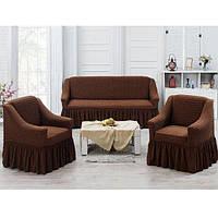 Чехлы на диван и 2 кресла оригинал GOLDEN ТЁМНЫЙ ШОКОЛАД защитный чехол для дивана